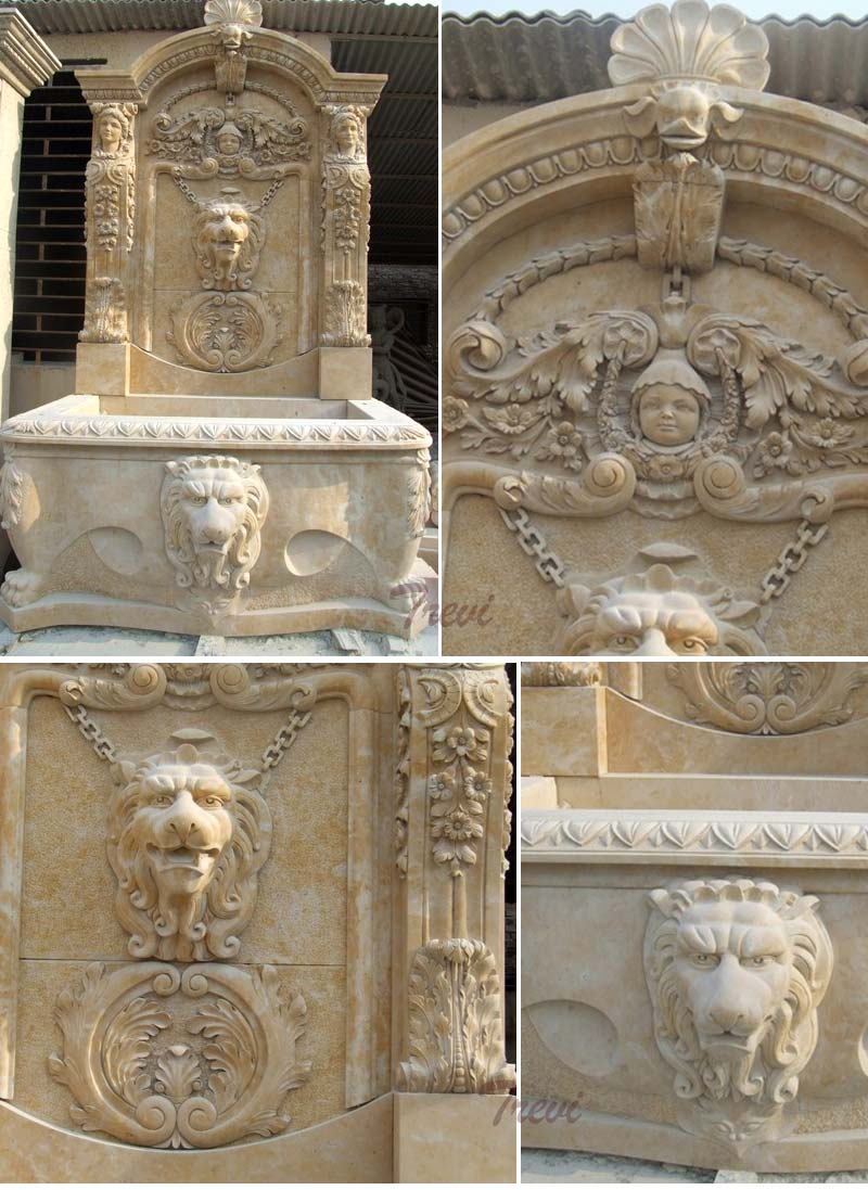 Antique beige marble lion head wall garden fountains details
