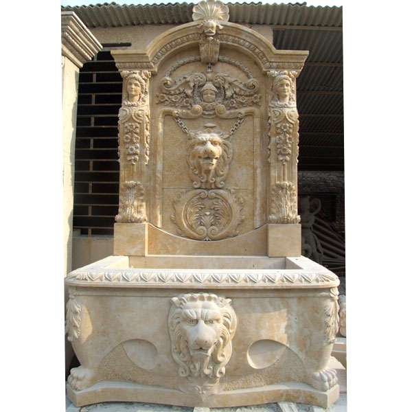 No. TMF-15 Antique beige marble lion head wall garden fountains for sale