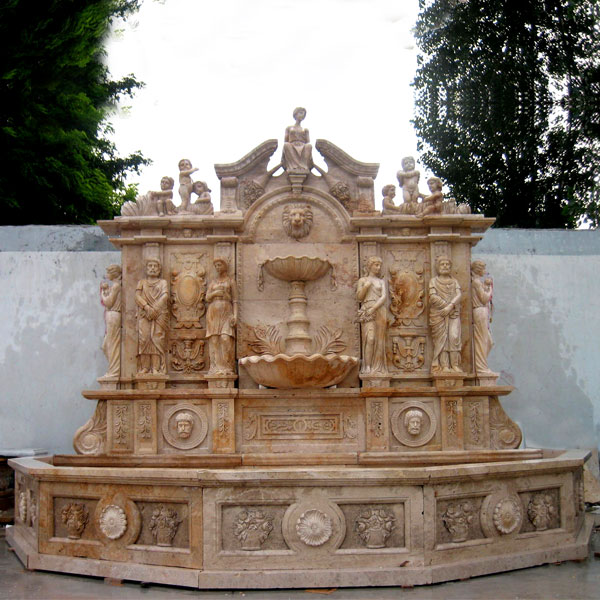 No. TMF-18 Antique luxury lion head garden water wall fountain with basin ideas for sale