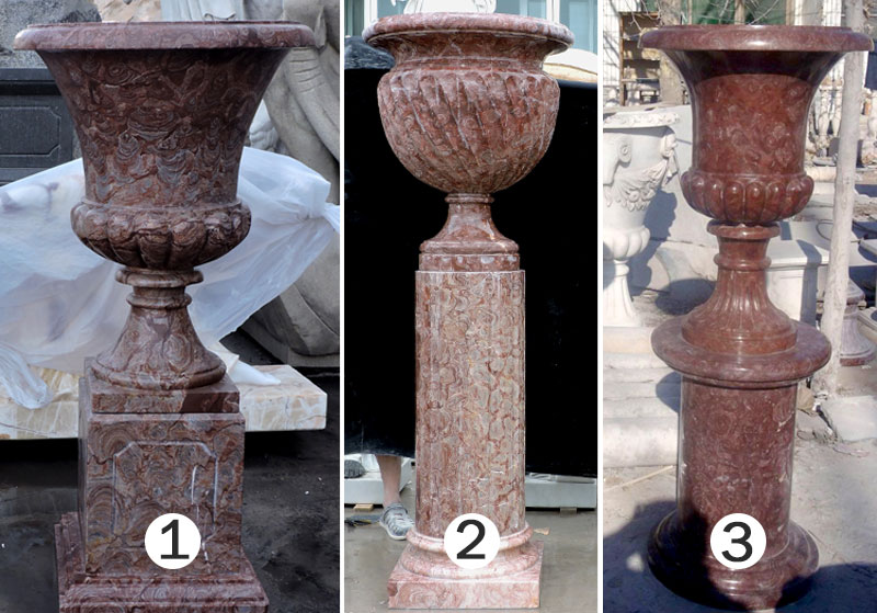 Antique red marble large garden flower pots in pair designs