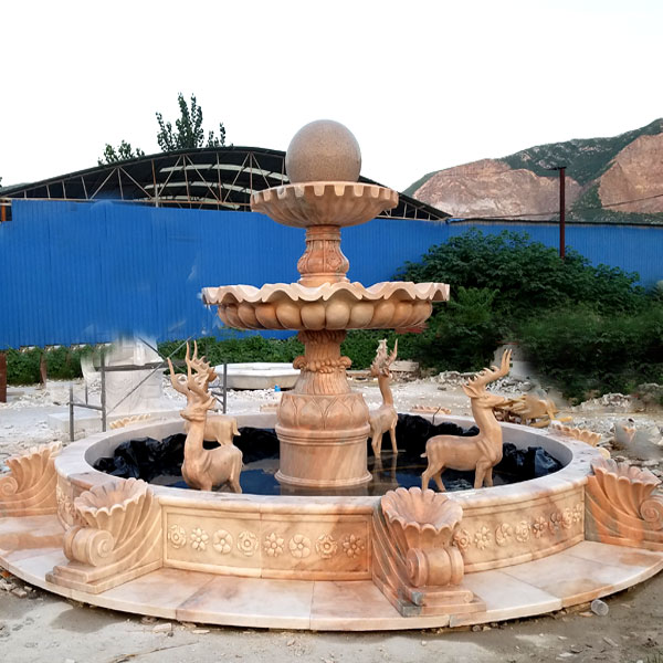 Backyard tiered rolling marble ball fountain with stag statues