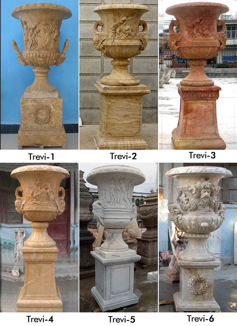 Beige marble large planters pots for yard decor designs