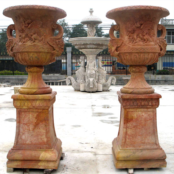 No. TMP-02 Beige marble large planters pots for yard decor
