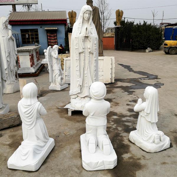 Catholic saint marble statues our lady of Fatima with three shepherd for church decorCatholic saint marble statues our lady of Fatima with three shepherd for church decor