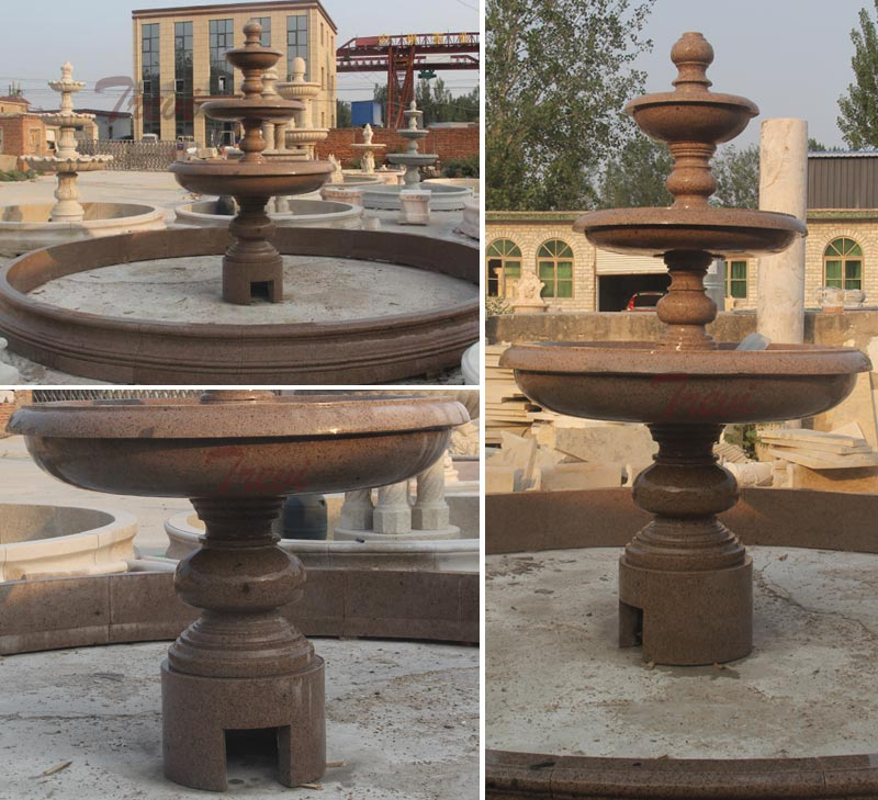 Classical design marble carving 3 tiers  water fountains for public decor details