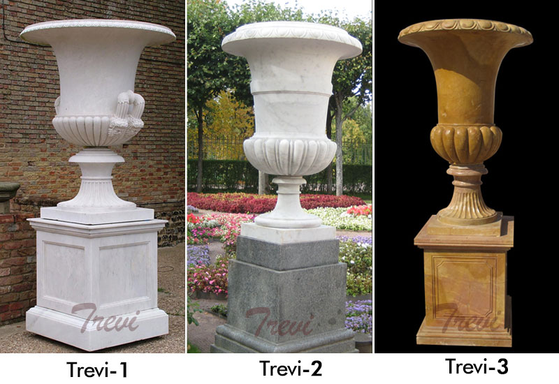 Classical white marble large garden planter with base designs