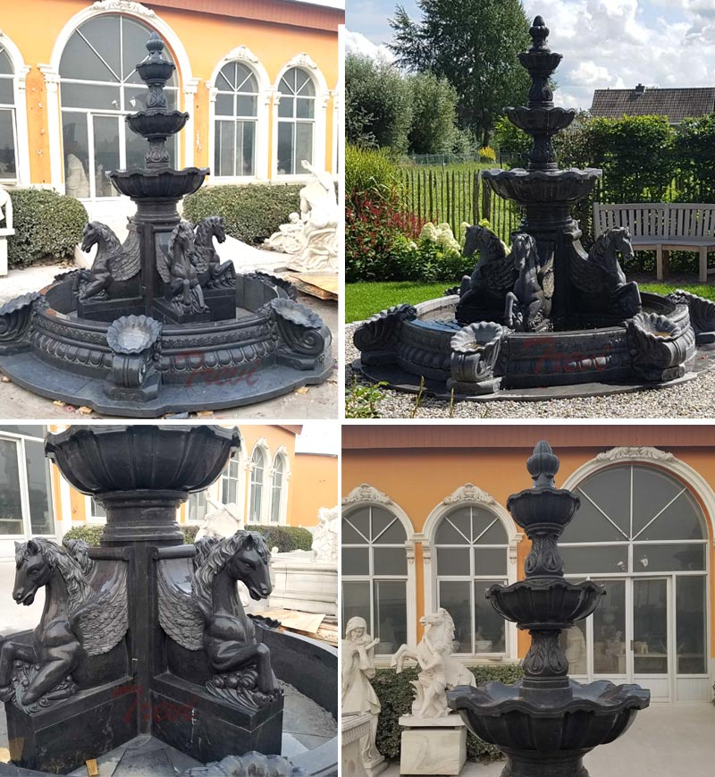 Details of black marble garden tiered water fountains with horse statues outdoor