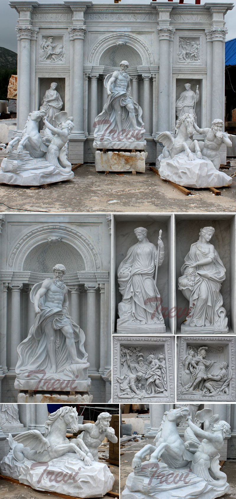 Famous Trevi marble water fountains for the entrance of the park details