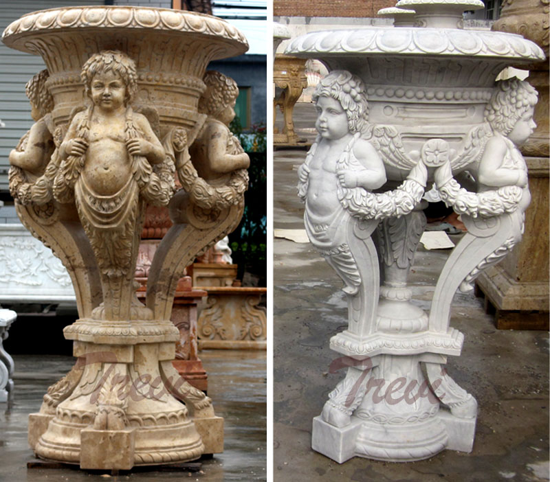 Garden decorative antique marble carving planter pots with angel statues ornaments for sale