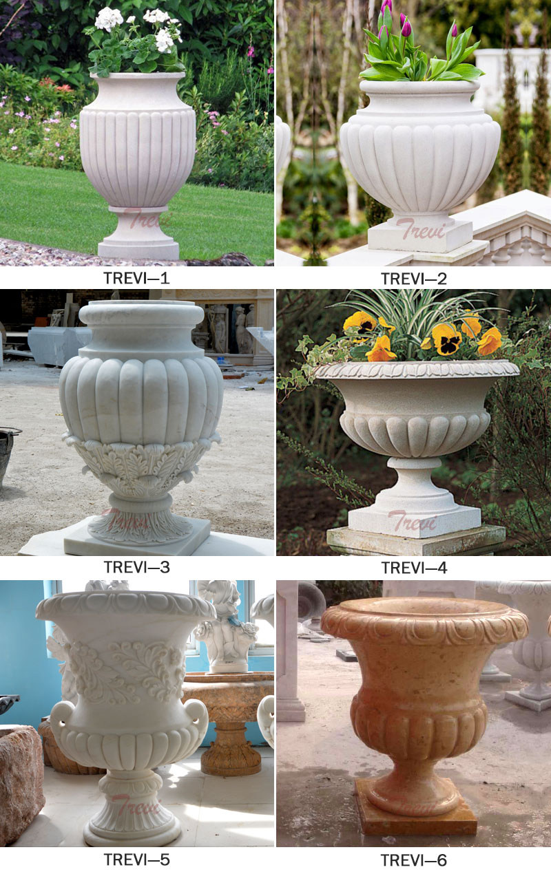 Indoor white marble urn pots for patio decor designs