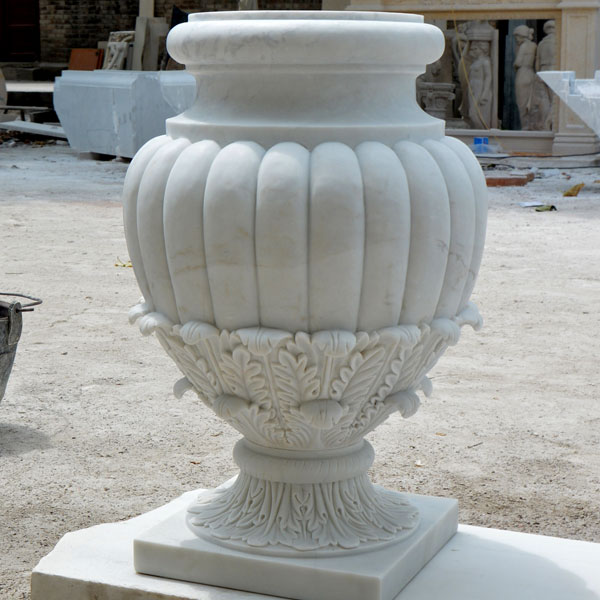 No. TMP-015 Indoor white marble urn round pots for patio decor
