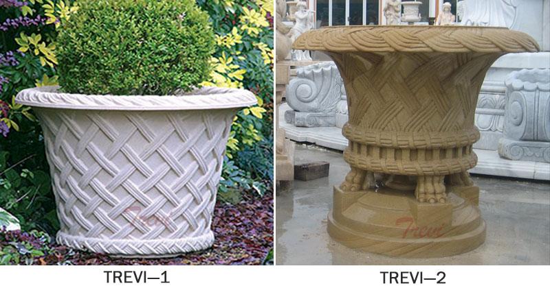Large beige marble flower pots for indoor garden designs