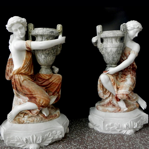 No. TMP-04 Large decoration multi color marble planters with beautiful lady statues for interior home