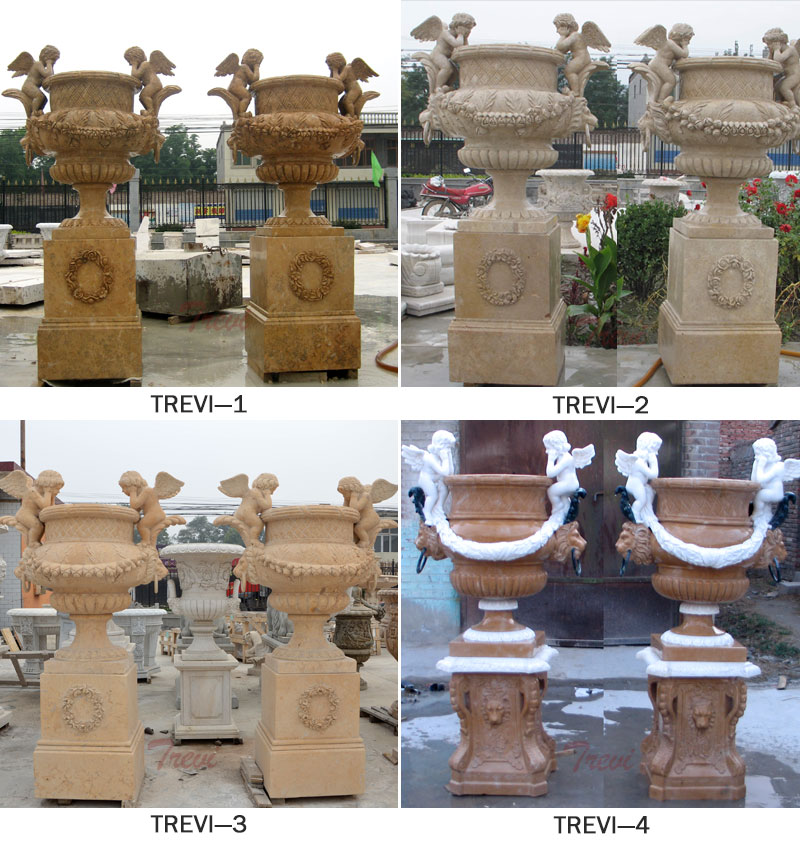Large marble flower planter pots with base in pairs sale designs