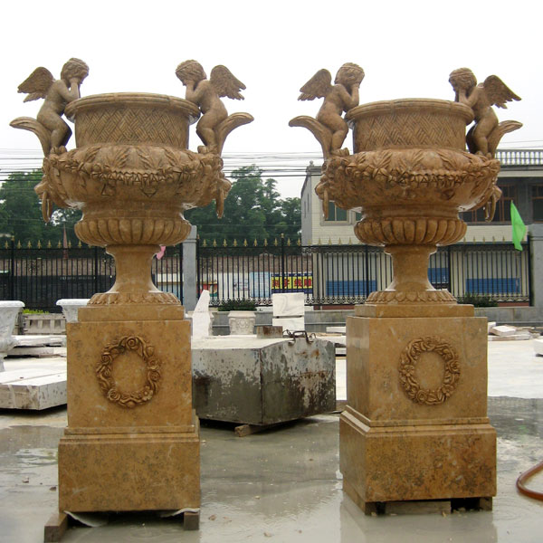 Large marble flower planter pots with base in pairs sale