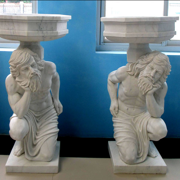 No. TMP-05 Large white marble planter pots with man statues a pair for home garden ornaments