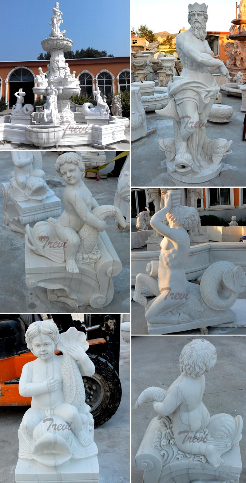 Luxury white marble water fountain with statues for the center of the hotel designs