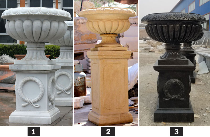 Marble flower planter for outdoor garden