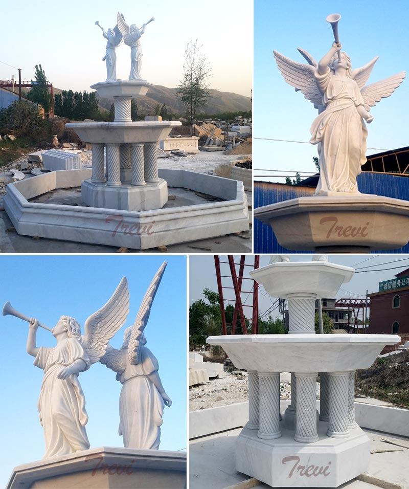 No.TMF-08 Outdoor Tiered Columns Water Fountain With Bernini Angel Statues For Sale