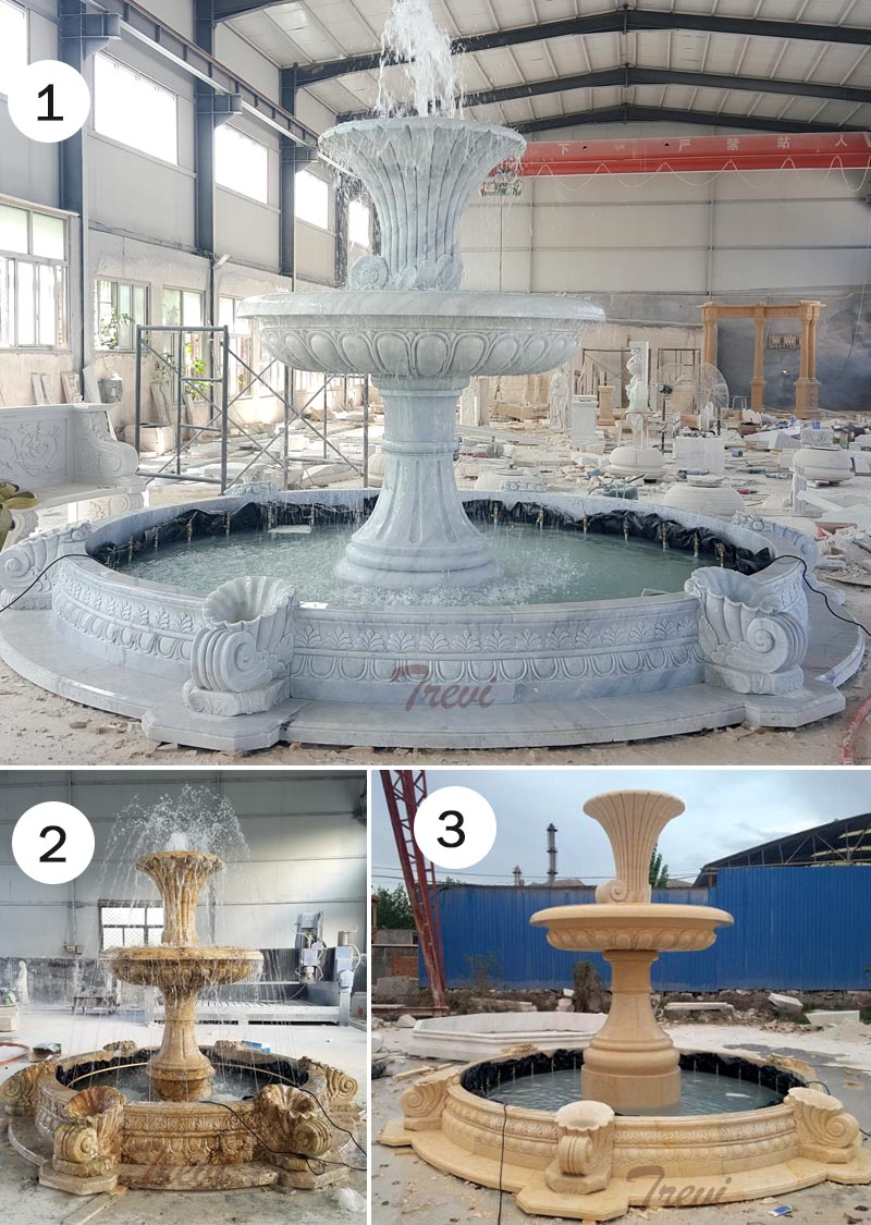 Outdoor 2 tiers white marble water fountain for the entrance of community designsOutdoor 2 tiers white marble water fountain for the entrance of community designs