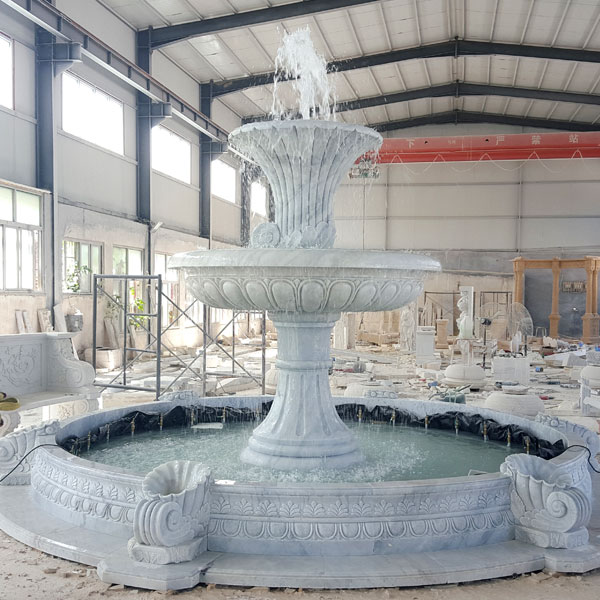 No. TMF-07 Outdoor 2 tiers white marble water fountain for the entrance of community