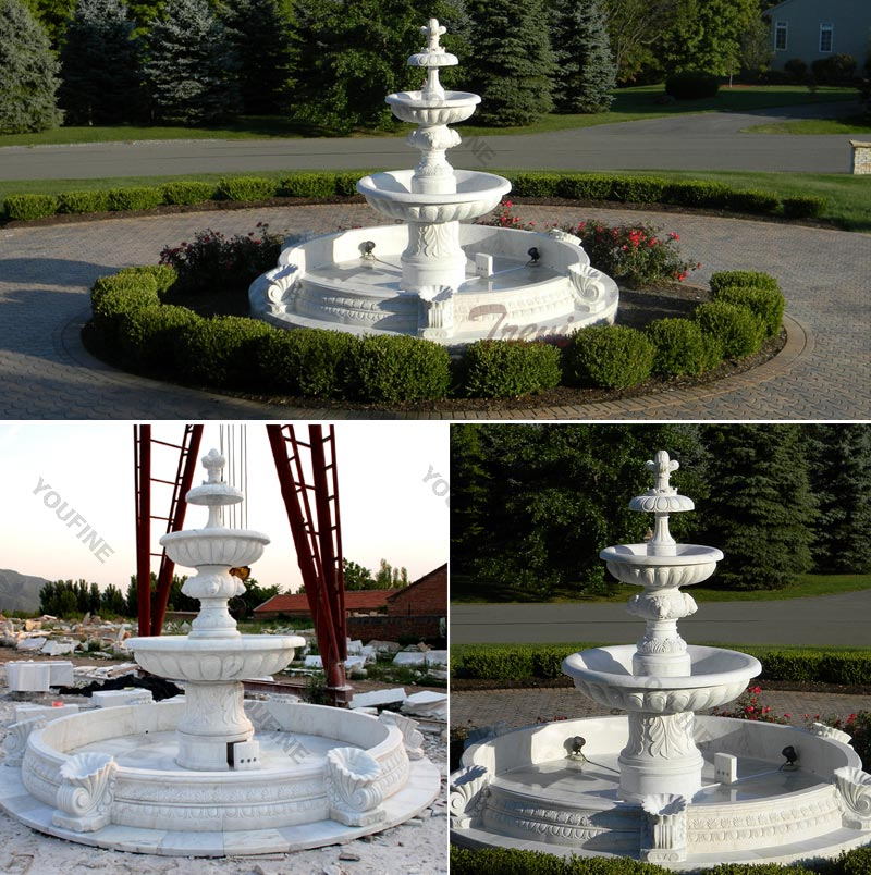 Outdoor classical three tiered water fountains in the center of the garden details