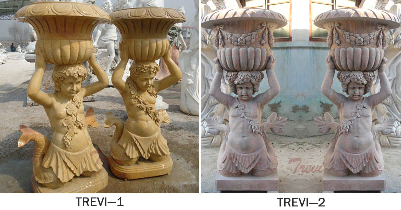 Outdoor decorated marble stone flower pots with mermaid statues designs