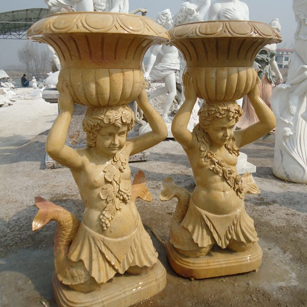 Outdoor decorated marble stone flower pots with mermaid statues price