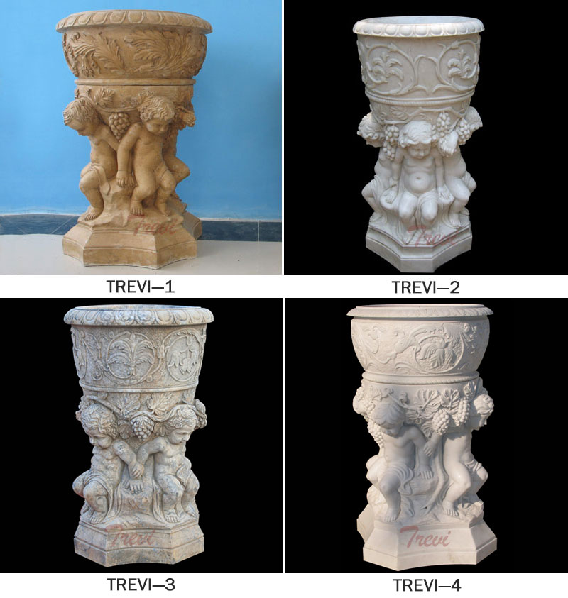 Outdoor garden decor beige marble flower urns pot with angel statues designs