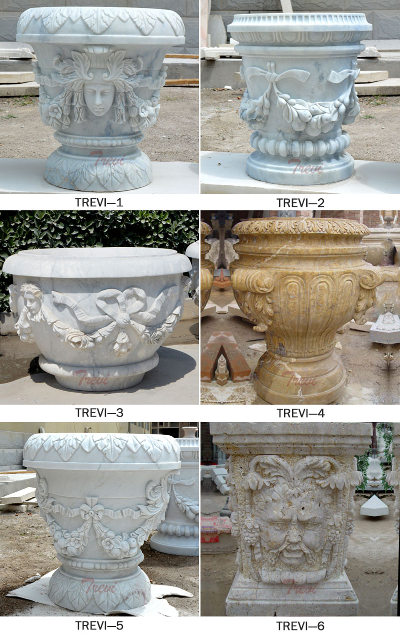 Outdoor garden white marble carving flower planter pots with woman face decor designs