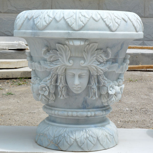 Outdoor garden white marble carving flower planter pots with woman face decor for sale