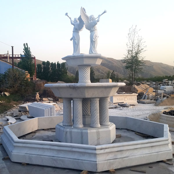 Outdoor tiered columns water fountain with bernini angel statues for sale