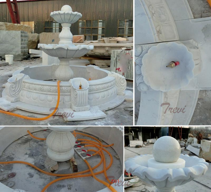Three tiers white marble water fountain for the center of garden ornaments designs