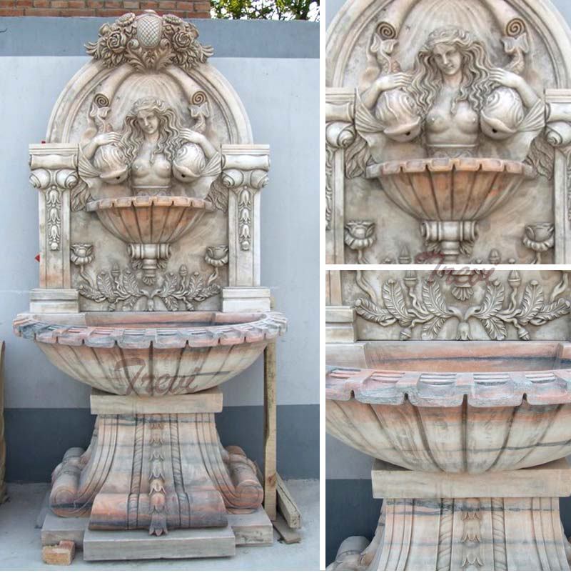 Wall mounted water fountain with woman statues designs details