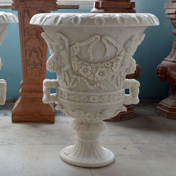 No. TMP-014 White marble carving flower pots for outdoor entrance of the home