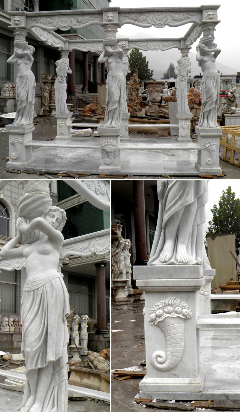 custom made outdoor yard marble Italy pavilion with beaches factory designs for sale from Trevi Sculpture