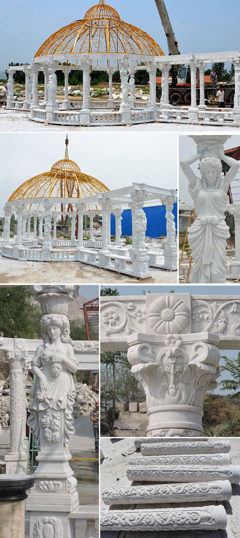 large pure white marble art custom made gazebo for our British customer for royal garden decoration