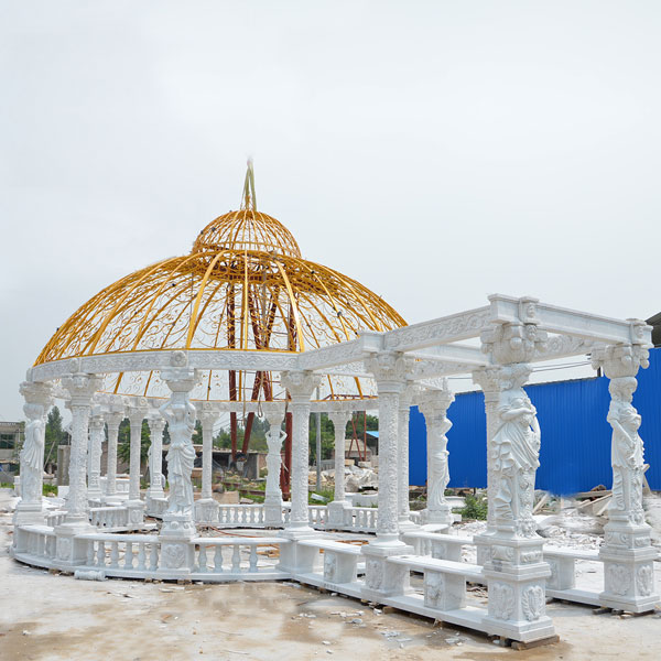 No. TMG-13 large pure white marble custom made luxury gazebo for British customer  garden decoration