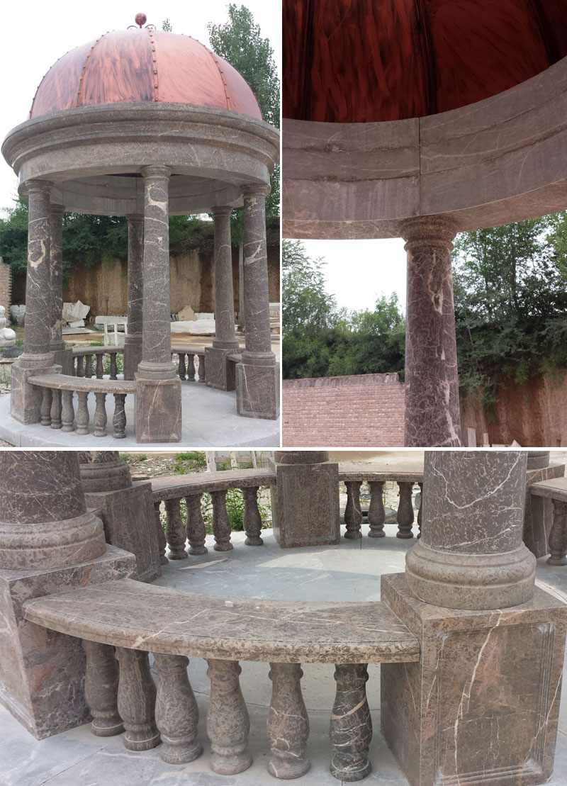 Antique Italian marble gazebo for outdoor yard decor details