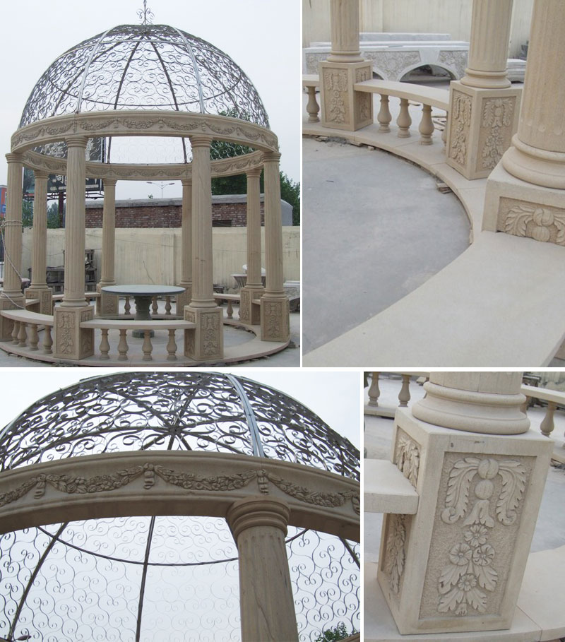 Antique marble round pavilion with iron roof for backyard outdoor decor details