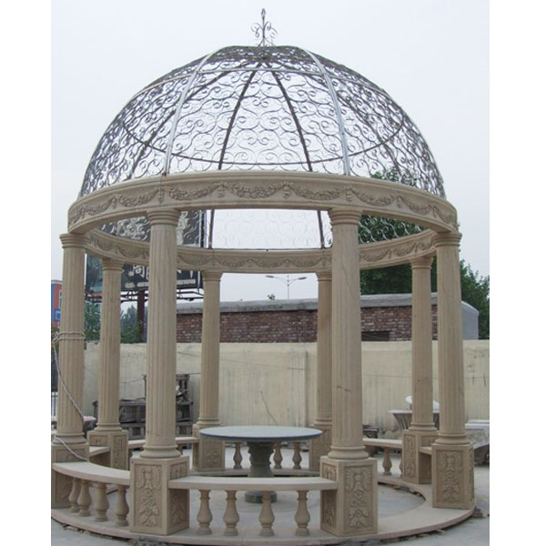 TMG-03 Antique marble round pavilion with iron roof for backyard outdoor decor