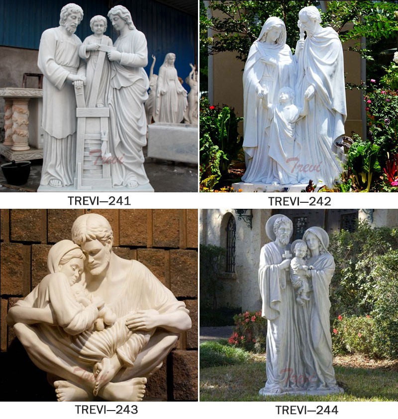 Catholic Holy family garden marble statues and decor details