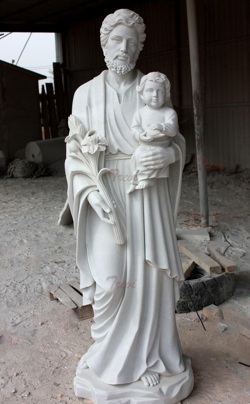 Catholic saint religious garden statues of Saint Joseph details