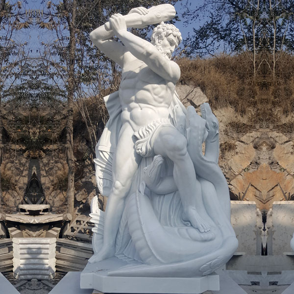 Famous marble art sculpture of Hercules and the hydra snakes statues