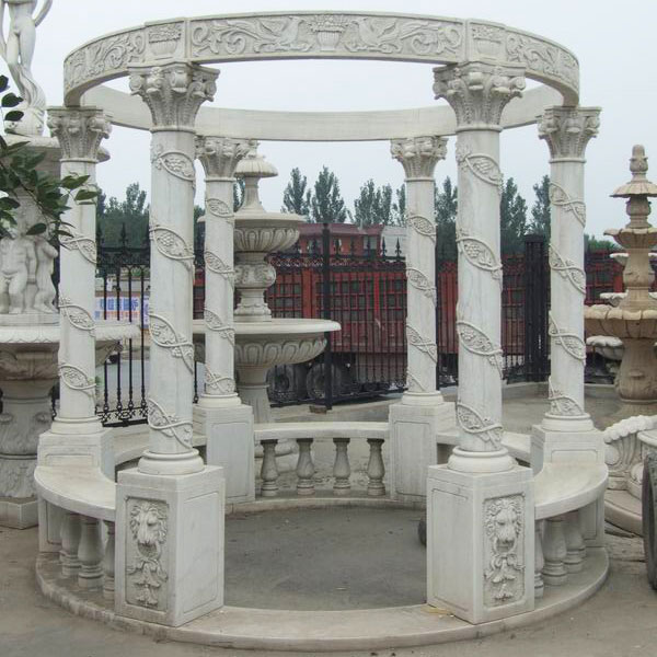 No. TMG-07 Italian design white marble garden pavilion to buy