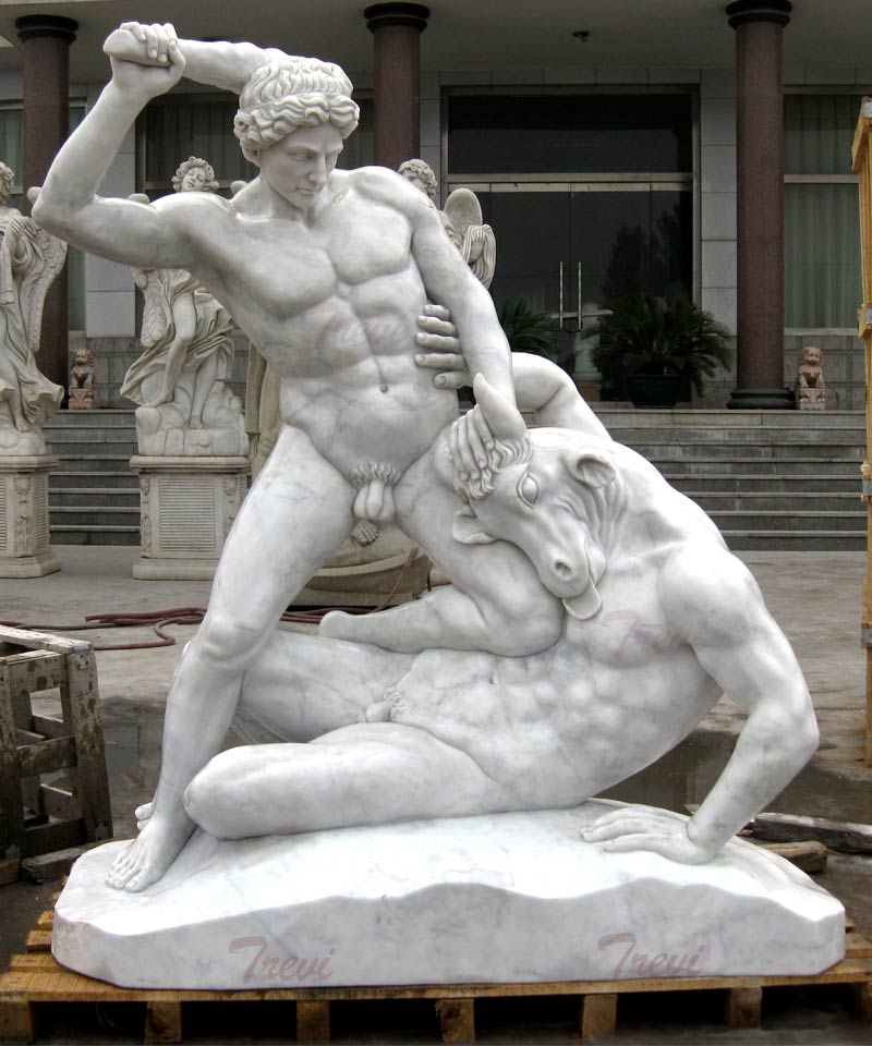 Life size marble garden decor of Hercules And Minotaur Sculpture