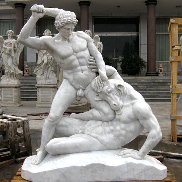 No. TCH-14 Life size marble garden decor of Hercules And Minotaur Statue for sale
