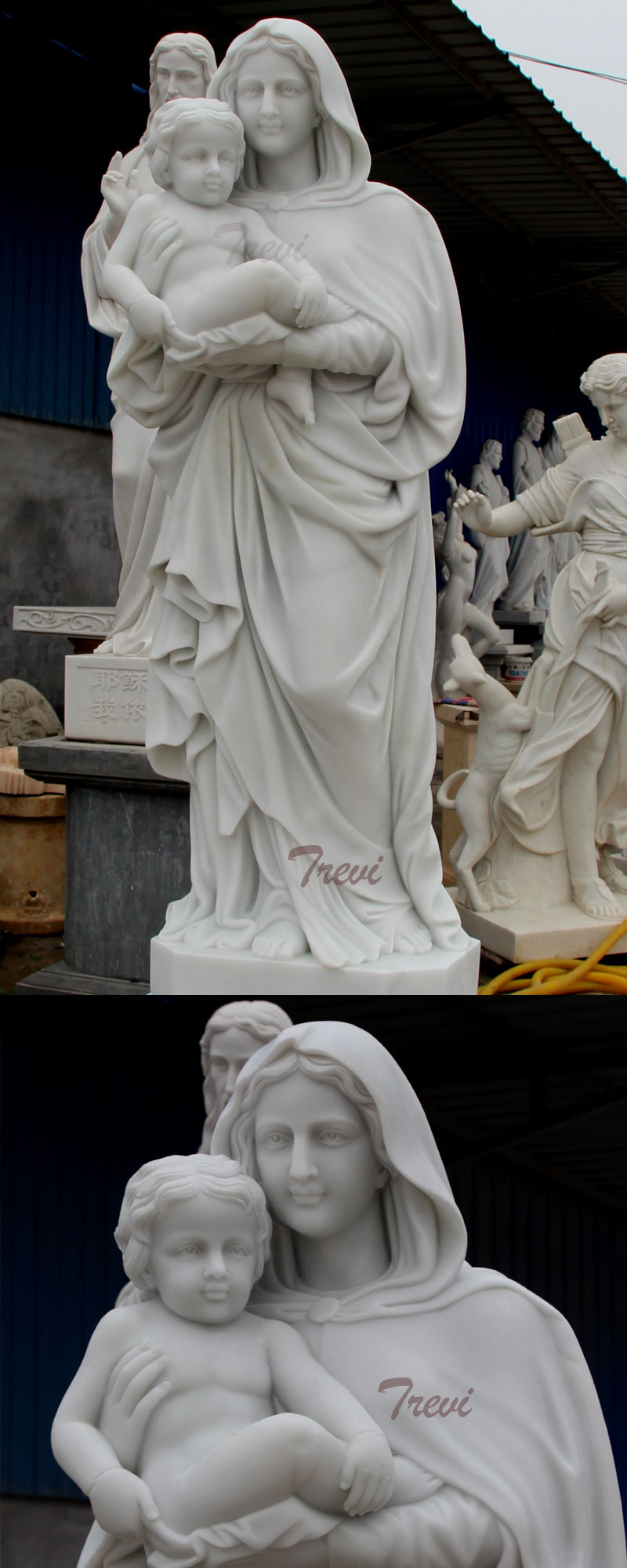 Mother Mary hold Baby Jesus life size marble statues details