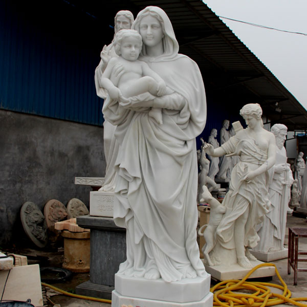 TCH-22 Mother Mary hold Baby Jesus life size marble statues price