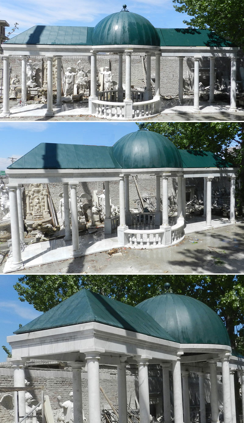 Outdoor elegant white marble pavilion with green hardtop designs details